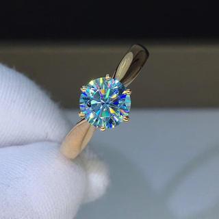 【1カラット】ブルーモアサナイト ダイヤモンド リング(リング(指輪))
