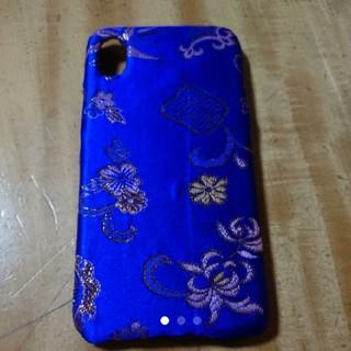 アジアン好きに!ブルーのチャイナサテンで作ったiPhoneXケース ハンドメイド(iPhoneケース)