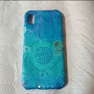 アジアン好きに!水色のチャイナサテンで作ったiPhoneXケース ハンドメイド(iPhoneケース)