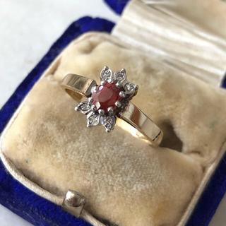 アンティーク トルマリン ダイヤモンド 9金 リング ホールマーク入り(リング(指輪))