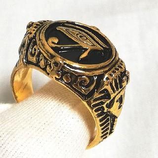 指輪 リング メンズ アクセサリー ホルス エジプト 金色 王 ファラオ(リング(指輪))