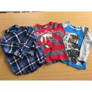 男の子 110センチ ロンT/120センチ ネルシャツ3枚まとめ売り(Tシャツ/カットソー)