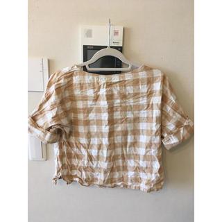 ジーユー(GU)のGU ギンガムチェック カットソー(シャツ/ブラウス(半袖/袖なし))