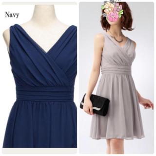 デイジーストア(dazzy store)の新品 ネイビー シフォン ドレス ワンピース ドレスライン(ミディアムドレス)