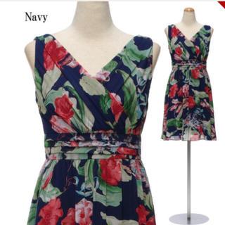 デイジーストア(dazzy store)の新品 花柄 シフォン ドレス ワンピース ドレスライン キャバ(ミディアムドレス)