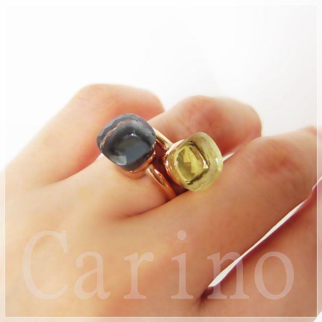 大粒 天然石 キャンディ リング 新色 レモン イエロー レディースのアクセサリー(リング(指輪))の商品写真