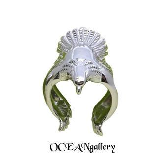 送料無料 14号 クロムシルバー ビッグ メタル イーグル リング 指輪 鷲(リング(指輪))