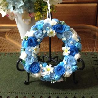 フエルトリース✨✨青いバラ(リース)