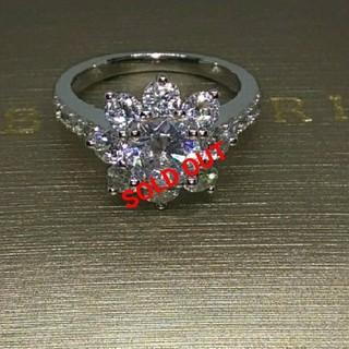 ハリーウィンストン(HARRY WINSTON)の最高級合成ダイヤモンド/SONAダイヤモンド/サンフラワーモチーフリング(リング(指輪))