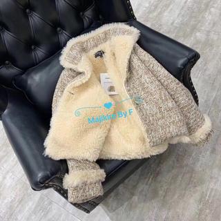 シャネル(CHANEL)のモコモコ超暖かいツィード風ファーコートジャケットS(毛皮/ファーコート)