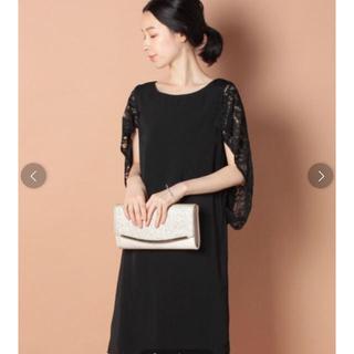 ナノユニバース(nano・universe)の連休お値下げ✨ナノユニバース❤️ショルダーレースワンピース 黒ドレス結婚式(ミディアムドレス)