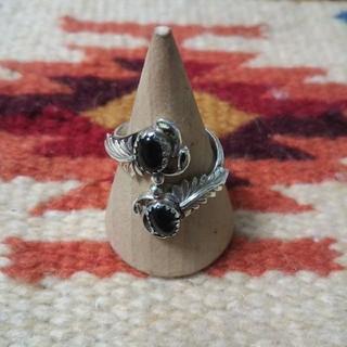 インディアン(Indian)のインディアンジュエリー ナバホ族 オニキス パワーストーン シルバーリング 指輪(リング(指輪))