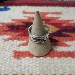 Indian - インディアンジュエリー ホピ族 hopi 熊 オーバーレイ シルバーリング 指輪