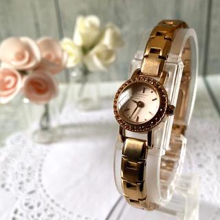 マーガレットハウエル(MARGARET HOWELL)の【美品】MARGARET HOWELL 腕時計 ピンクゴールド ストーン ベゼル(腕時計)