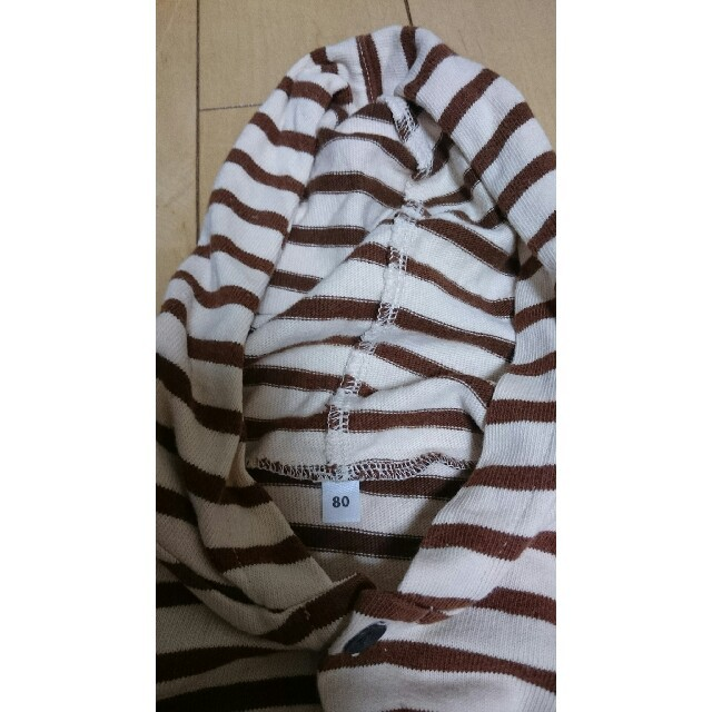 MUJI (無印良品)(ムジルシリョウヒン)の【送料無料】無印良品 80cm 女の子 フード付 ボーダー カーディガン 中古 キッズ/ベビー/マタニティのベビー服(~85cm)(カーディガン/ボレロ)の商品写真