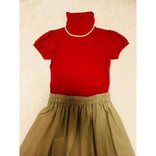 アーモワールカプリス(armoire caprice)の赤タートルトップス(カットソー(半袖/袖なし))