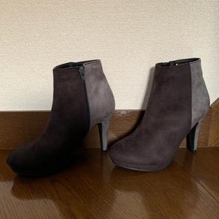 【新品】ショートブーツ バイカラー  ダークブラウン×グレー24.0(ブーツ)