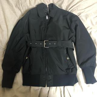 ルシェルブルー(LE CIEL BLEU)のルシェルブルー  ベルテッドボンバージャケット 黒(ブルゾン)