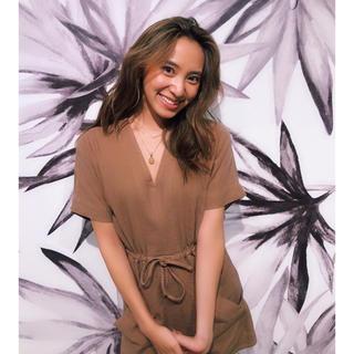 ALEXIA STAM - 即完売 alexiastam Linen V-Neck Dress Brown