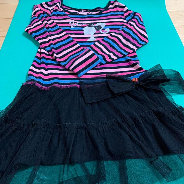 Barbie(バービー)のBarbie カラフルボーダーワンピ 140 キッズ/ベビー/マタニティのキッズ服 女の子用(90cm~)(ワンピース)の商品写真