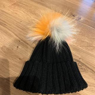 ルシェルブルー(LE CIEL BLEU)のファー付き ニット帽 ポンポン(ニット帽/ビーニー)