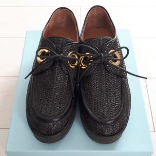 オゥバニスター(AU BANNISTER)のオゥバニスター ラフィアシューズ黒(ローファー/革靴)