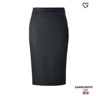 ユニクロ(UNIQLO)の(タグつき)コットンペンシルスカート(ブラック70サイズ)UNIQLO×カリーヌ(ひざ丈スカート)