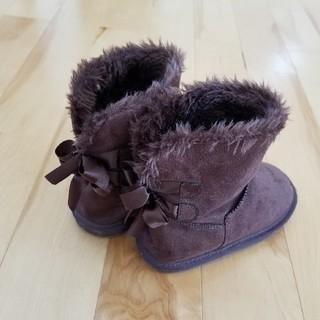エニィファム(anyFAM)のanyFAM☆リボン付きファーブーツ ブラウン 17.0cm(ブーツ)