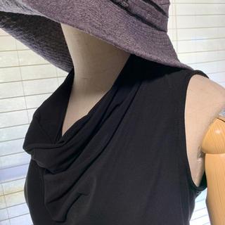 黒シンプルカットソー オトナのノースリーブ(カットソー(半袖/袖なし))