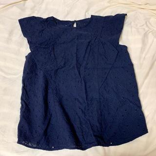 ジーユー(GU)のコットンレース フリル スリーブブラウス(シャツ/ブラウス(半袖/袖なし))