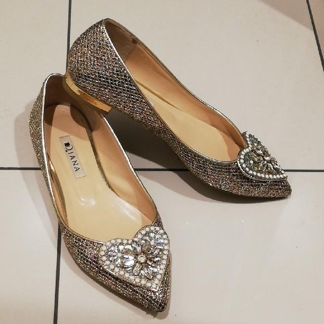 【品がよく見えます★ペタンコ靴】DIANA スパンコール ハートビジューデザイン