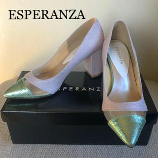 エスペランサ(ESPERANZA)の新品✨エスペランサ♡異素材ヒールパンプス  (ハイヒール/パンプス)