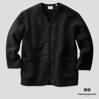 UNIQLO - Sサイズ ユニクロ エンジニアドガーメンツ フリースノーカラーコート ブラック黒