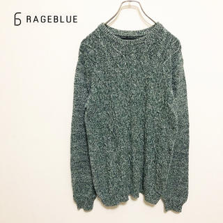 RAGEBLUE - ★【RAGEBLUE】霜降り グリーン ケーブル編み Vネックニットプルオーバー