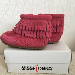 ミネトンカ(Minnetonka)のミネトンカ ベビー モカシン 3 ピンク*ブーツ、レザー(ブーツ)