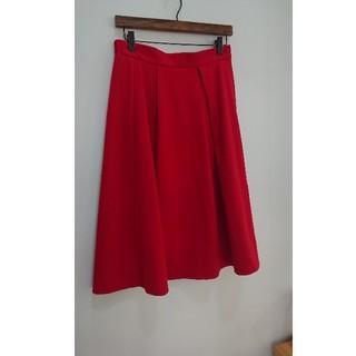 ジーユー(GU)のGUスカート赤 XL 美品(ひざ丈スカート)