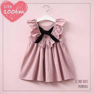 アウトレット⭐︎ 100cm(110) バックリボンフリルワンピース海外子供服(ワンピース)