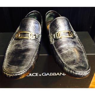 ドルチェアンドガッバーナ(DOLCE&GABBANA)の美品ドルチェ&ガッバーナD&Gシューズ靴ドライビング6シルバー革レザー金銀25(ドレス/ビジネス)