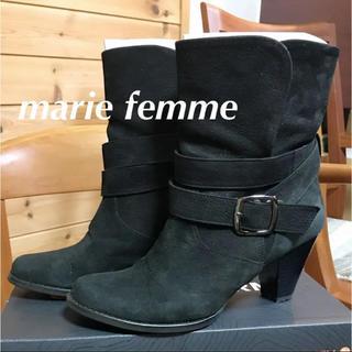 マリーファム(Marie femme)の美品 本革【Marie femme マリーファム】ショートブーツ 黒 23.5(ブーツ)