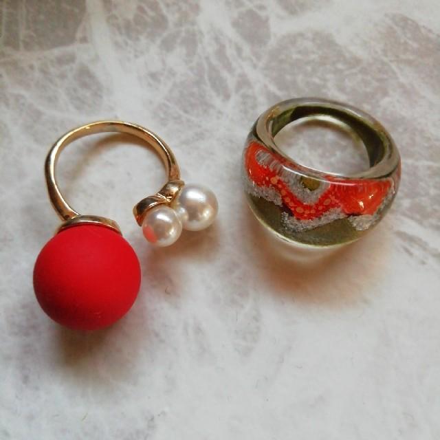 フリーサイズ パールリング レディースのアクセサリー(リング(指輪))の商品写真