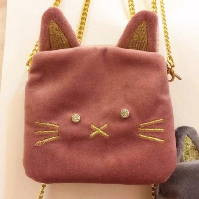 petitNATS❤キッズポシェット 耳ぴょこねこピンク qm17013 キッズ/ベビー/マタニティのこども用バッグ(ポシェット)の商品写真