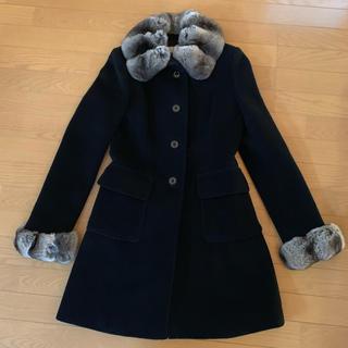 ハロッズ(Harrods)のハロッズ コート 黒 サイズ3 チンチラ付き(毛皮/ファーコート)
