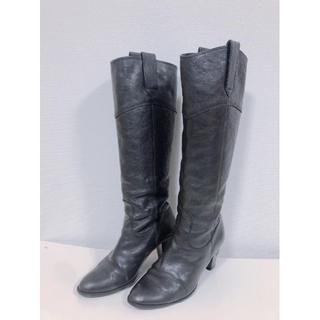プールサイド(POOL SIDE)のPOOL SIDEプールサイド革黒ブラックロングブーツウエスタンブーツ靴シュー(ブーツ)