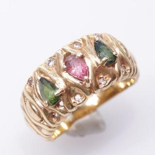 トクトクジュエリー トルマリン ダイヤモンド 18金 リング(リング(指輪))