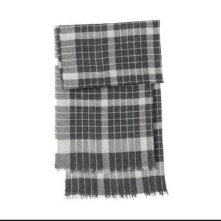 MUJI (無印良品) - カシミヤ平織りストール(柄) ダークグレー