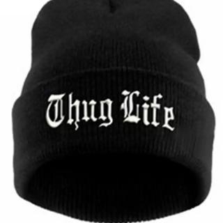 2pac thug life ニット帽 黒 ビーニー