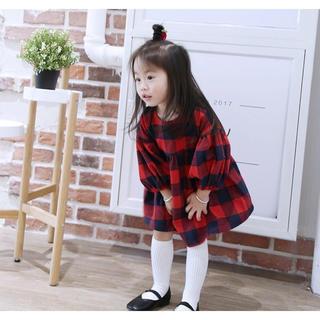 送料無料#新品#キッズ ワンピース フォーマル チェック柄 赤 緑 子どもドレス(ワンピース)