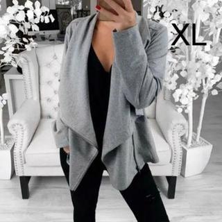 新品☆シンプル♪ななめジップ付きジャケット グレー XL(その他)