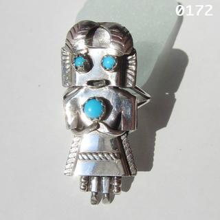 ターコイズ シルバー インディアンジュエリー カチーナ 純銀 立体的精霊 14号(リング(指輪))