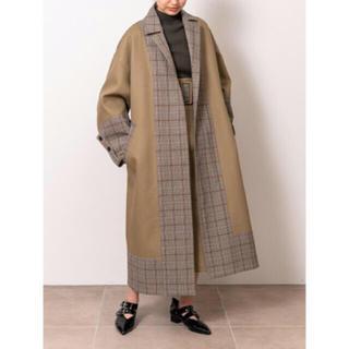 ファーファー(fur fur)のfur fur ボンディング ロング チェック コート アウター 完売品(ロングコート)